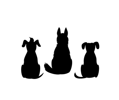 different mixed breed dogs backside view silhouettes isolated vector graphic Stock Vector - 106834971