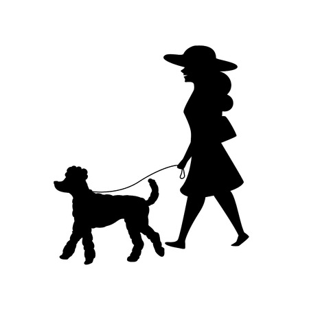 woman walking with her poodle dog silhouette vector illustration