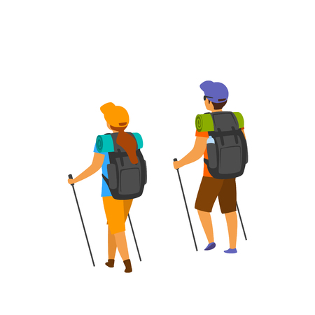 man and woman hiking walking with poles backpacks  isolated vector illustration Illustration