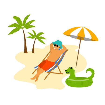 man on a tropical beach vacation lying in a sunchair enjoying holidays Vetores