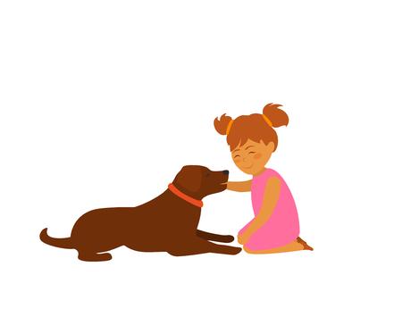 baby girl teasing a dog cute vector illustration scene