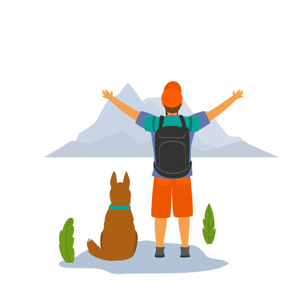 happy hiker with his dog on top of mountain enjoying view isolated vector illustration