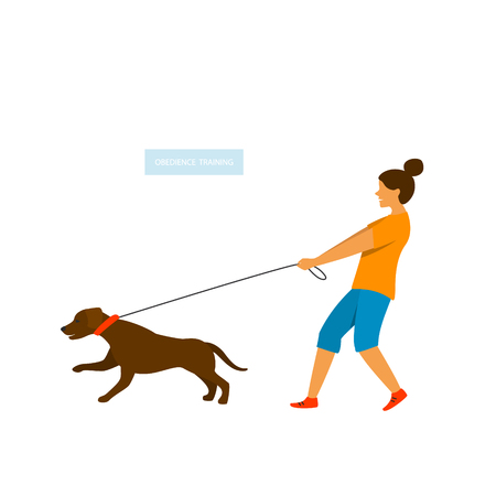 dog pulling on the leash isolated vector graphic Иллюстрация