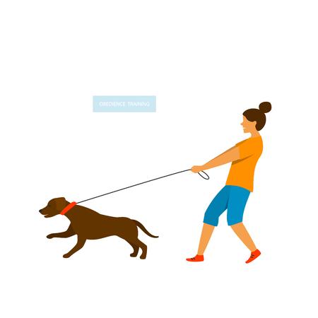 Perro tirando de la correa aislado gráfico vectorial