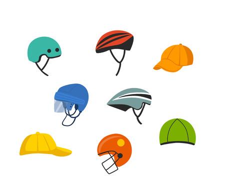set of sport and recreational headgear, protection cycling climbing hockey american football helmets , baseball caps, skiing hat graphic
