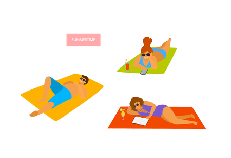 man and woman relaxing reading texting sleeping on the beach isolated vector illustration