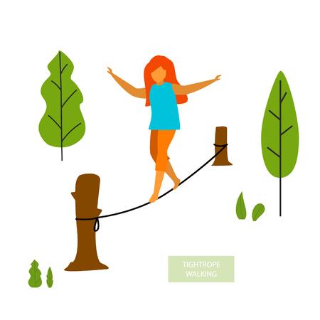 Jeune femme funambule dans le parc graphique vectoriel isolé