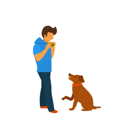 dog begging for food while owner is eating isolated vector illustration graphic scene