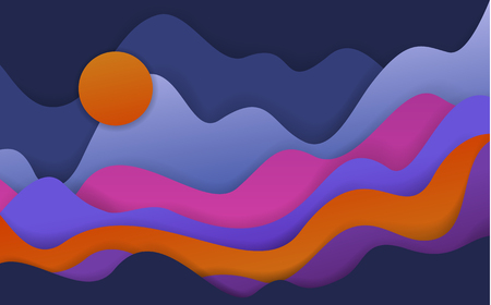 abstract wavy paper cut style shapes, fantasy landscape scenery background