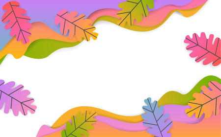 autumn fall thanksgiving seasonal wavy paper cut style banner with gradient colored oak leaves