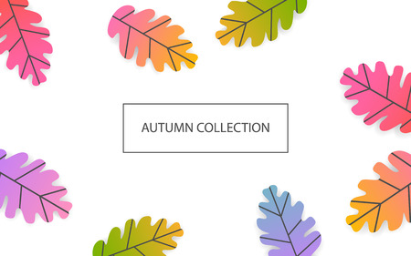 autumn fall thanksgiving seasonal banner with gradient colored oak leaves  background Illustration