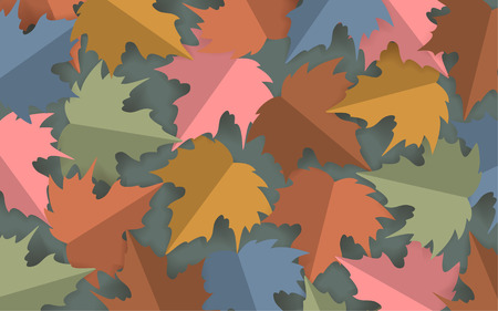 paper cut style pastel colored maple leaves background,  autumn fall thanksgiving banner vector illustration