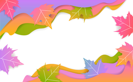 autumn fall thanksgiving seasonal wavy paper cut style banner with gradient colored maple leaves Illustration