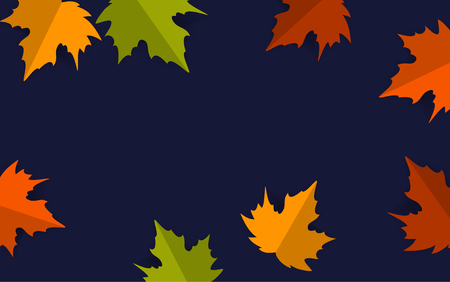 paper cut style maple leaves over dark blue background,  autumn fall thanksgiving banner vector illustration