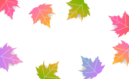 autumn fall thanksgiving seasonal banner with gradient colored maple leaves  background Illustration