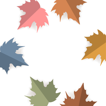 paper cut style maple leaves over white background,  autumn fall thanksgiving square texture vector illustration