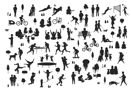 silhouettes of people in the city park scenes set, men women children make sport, walk, at picnic, relaxing, celebrating