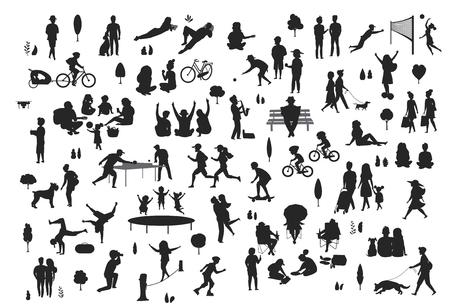 sylwetki ludzi w scenerii parku miejskiego, mężczyźni kobiety dzieci uprawiają sport, spacerują, na pikniku, relaksują się, świętują