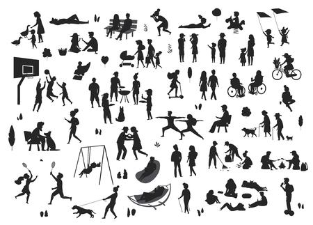 zestaw sylwetki ludzi w parku sceny Ilustracje wektorowe