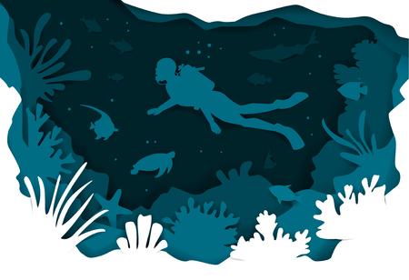 Unterwasser-Tiefseehintergrund des digitalen Papierschnittstils mit Taucherfischen und Vektorillustrationstextur der Korallenriffe