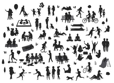 Silhouettes de personnes dans le parc scènes ensemble, hommes femmes enfants jouent, se détendre, danser, manger, parler ride vélos lire Banque d'images - 109844518