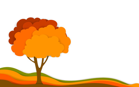 autumn fall tree in digital layered effect paper cut style, isolated vector illustration