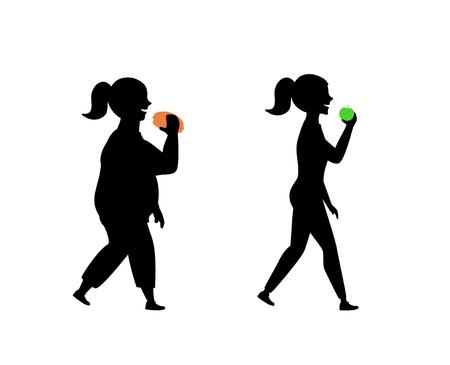gesunde und ungesunde Essgewohnheiten, vor und nach Mädchenschattenbildvektorillustration