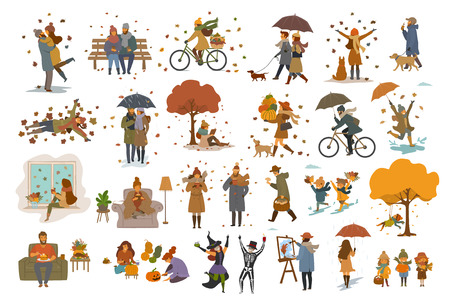 autumn fall thanksgiving halloween people outdoor and at home cartoon vector illustration set, man woman couples children walk with umbrellas, dogs, spend time in the park, ride bikes, read book, sit on bench, lying on maple leaves, decorate pumpking, celebrate