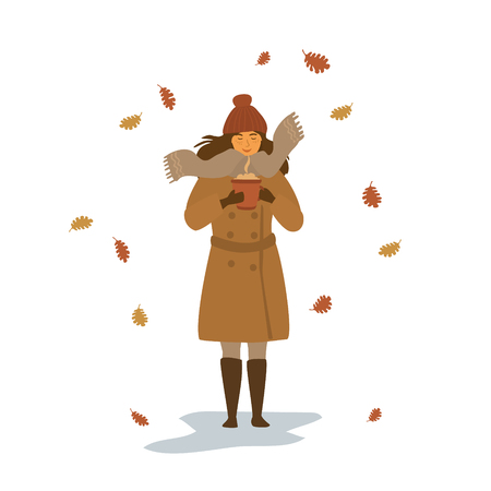 cute young woman warming up with hot drink in a mug in the park under falling dry autumn leaves isolated vector illustration scene Çizim