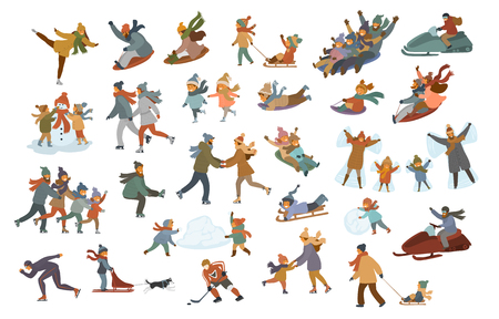 men women couples kids children family sledding, ice skating on a rink, playing, making snowman and snow angel, enjoying winter sports and leisure activities scenes set Illustration