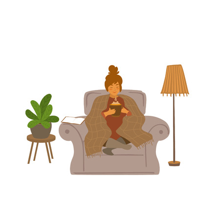 cute girl sitting on a couch with hot drink at home cartoon vector illustration scene