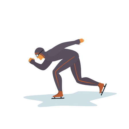 man sportsman  speed skating isolated vector illustration graphic