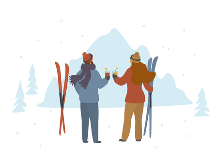 man and woman skiers enjoying winter holidays in mountains, apres ski back side view isolated vector illustration scene