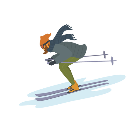 man skiing sownhill isolated vector illustration graphic