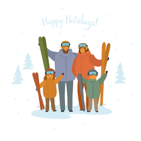 cute cartoon family skiers portrait, winter sports isolated vector illustration
