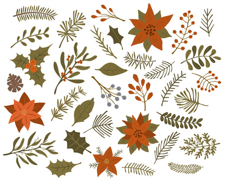 winter christmas foliage twigs branches red berries set, isolated vector illustration Ilustração