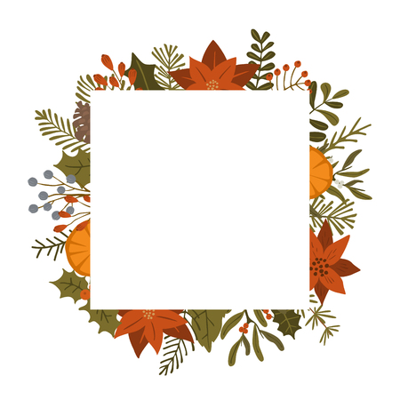 merry christmas winter foliage plants, poinsettia flowers leaves branches, red berries square frame template, isolated vector illustration xmas background