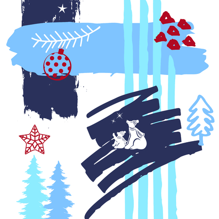 hand drawn abstract quirky christmas, winter time paint brush art strokes textures, outlined doodles and polar beers silhouette collage card Çizim