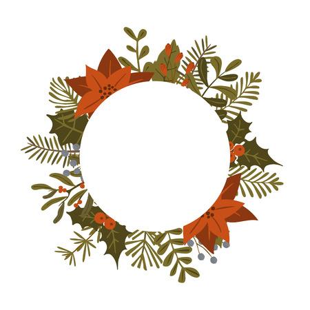 frohe weihnachten winter laub pflanzen, weihnachtsstern blumen verlässt zweige, rote beeren kreisen runde rahmenschablone, isolierter vektorillustrationshintergrund