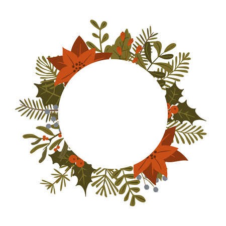 merry christmas winter foliage plants, poinsettia flowers leaves branches, red berries circle round frame template, isolated vector illustration background