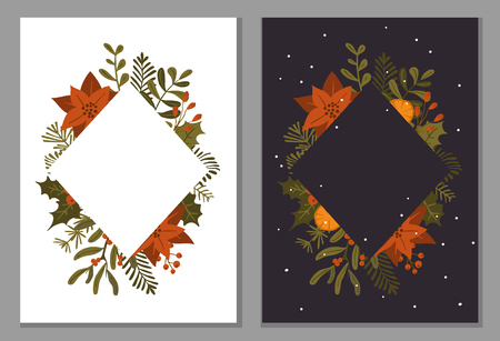 merry christmas winter foliage plants flowers leaves branches and red berries frame on dark and white texture, vector illustration template  background