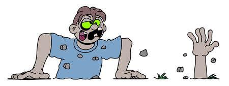 awakening: Awakening zombie vector illustration