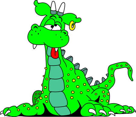 tarragon: Funny green dragon vector illustration Illustration
