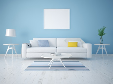 Mock up a modern living room with a compact sofa on a background of blue wallpapers. 版權商用圖片