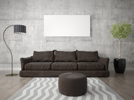Mock up a bright living room with a trendy brown sofa and a light stylish background. Zdjęcie Seryjne