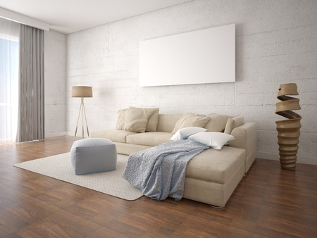 Mock up a bright living room with a beige corner sofa and a light hipster background.