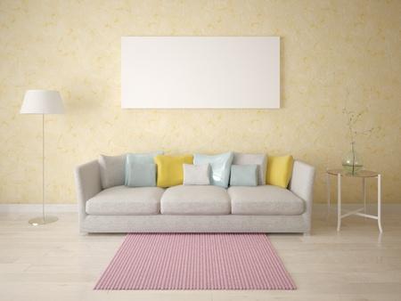 Mock up a modern living room with a fashionable floor lamp and a stylish sofa. Imagens
