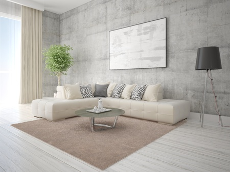 Mock up a stylish living room with a light corner sofa and a hipster background.