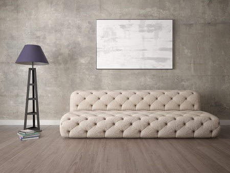 Mock up the living room in a modern style with a comfortable sofa and a trendy hipster background. 写真素材