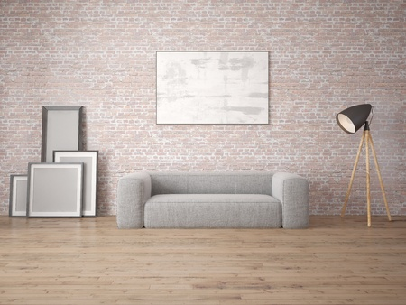 Mock up modern living room with sofa
